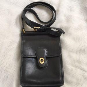 Coach black leather cross body bag